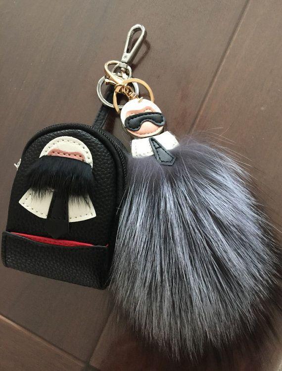 7cd188501d pom pom karl bag charm mini backpack keychain coin purse charm keychains  puffs pom pom keyring fur l