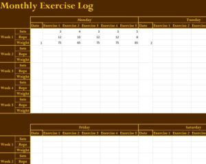 Monthly Exercise Log  Workout Log    Workout Template