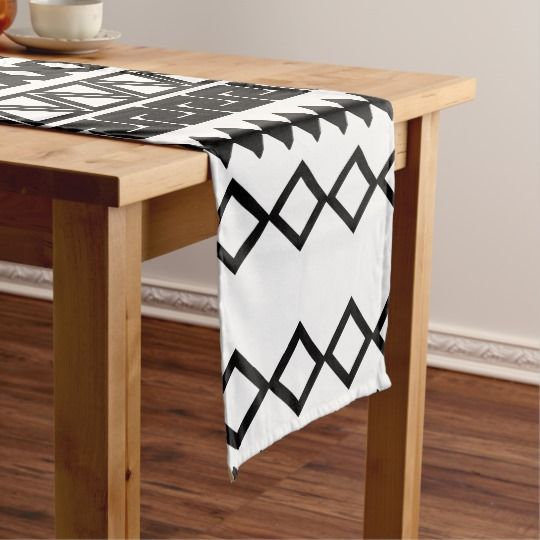 Vintage Black And White Tribal Aztec Pattern Short Table Runner Vintage Table Runner Table Runners Table Linens