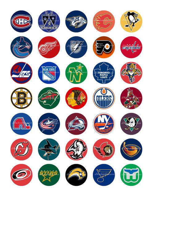 Nhl Hockey Logos Printable Digital Collage Sheet By Shadowdancer2 3 00 Hockey Logos Hockey Birthday Parties Hockey Birthday
