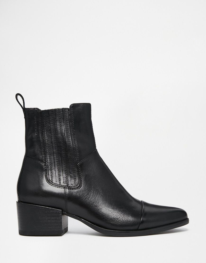 Buy Women Shoes / Vagabond Marja Black Leather Point Ankle Boots