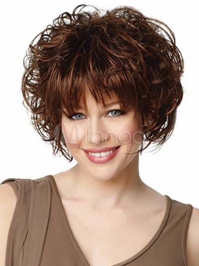 Perruque femme frisée courte brune acajou dégradée in 2019