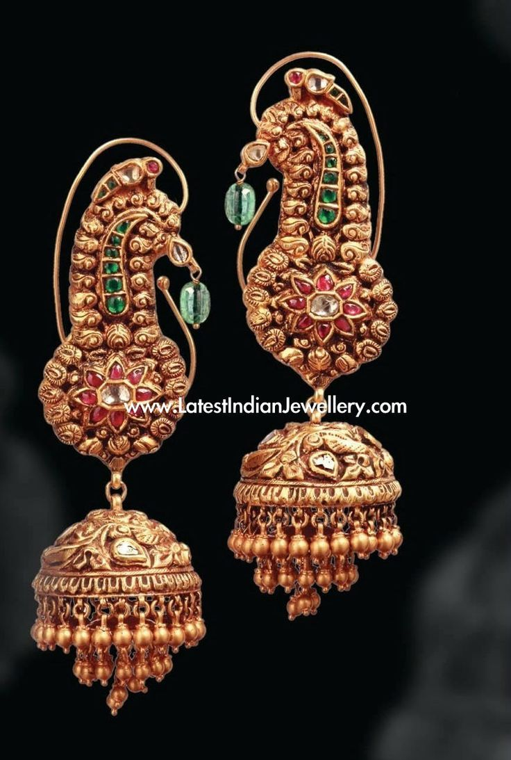 And contemporary gold jhumkas collection by khazana jewellery - Temple Jewellery Gold Jhumkas