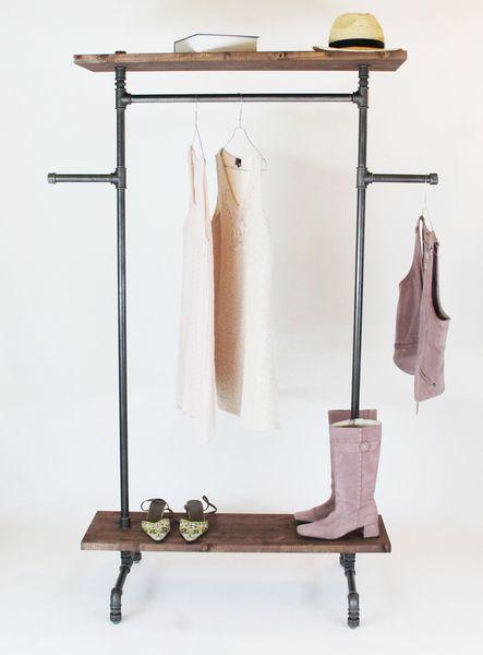 Vintage garderobe industriedesign kleiderst nder von for Garderobe rohre