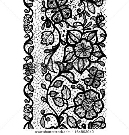 Abstract Lace Ribbon Vertical Seamless Pattern. Template frame ...