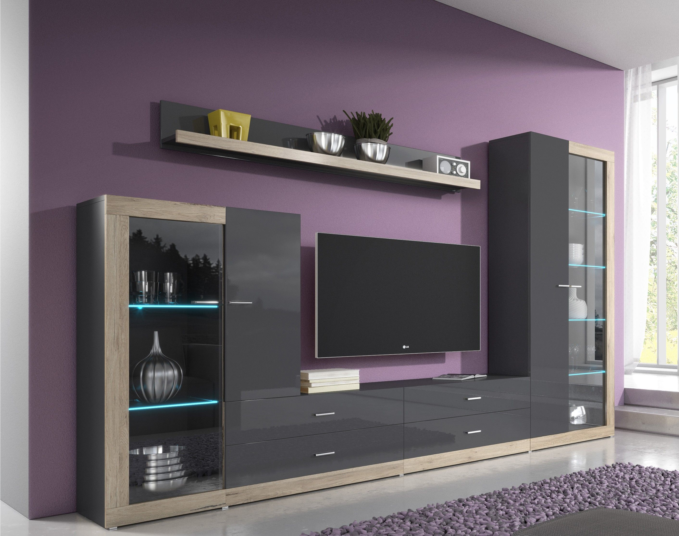 Wall unit tessa 1 living room wall units modern wall for Living room tv unit designs