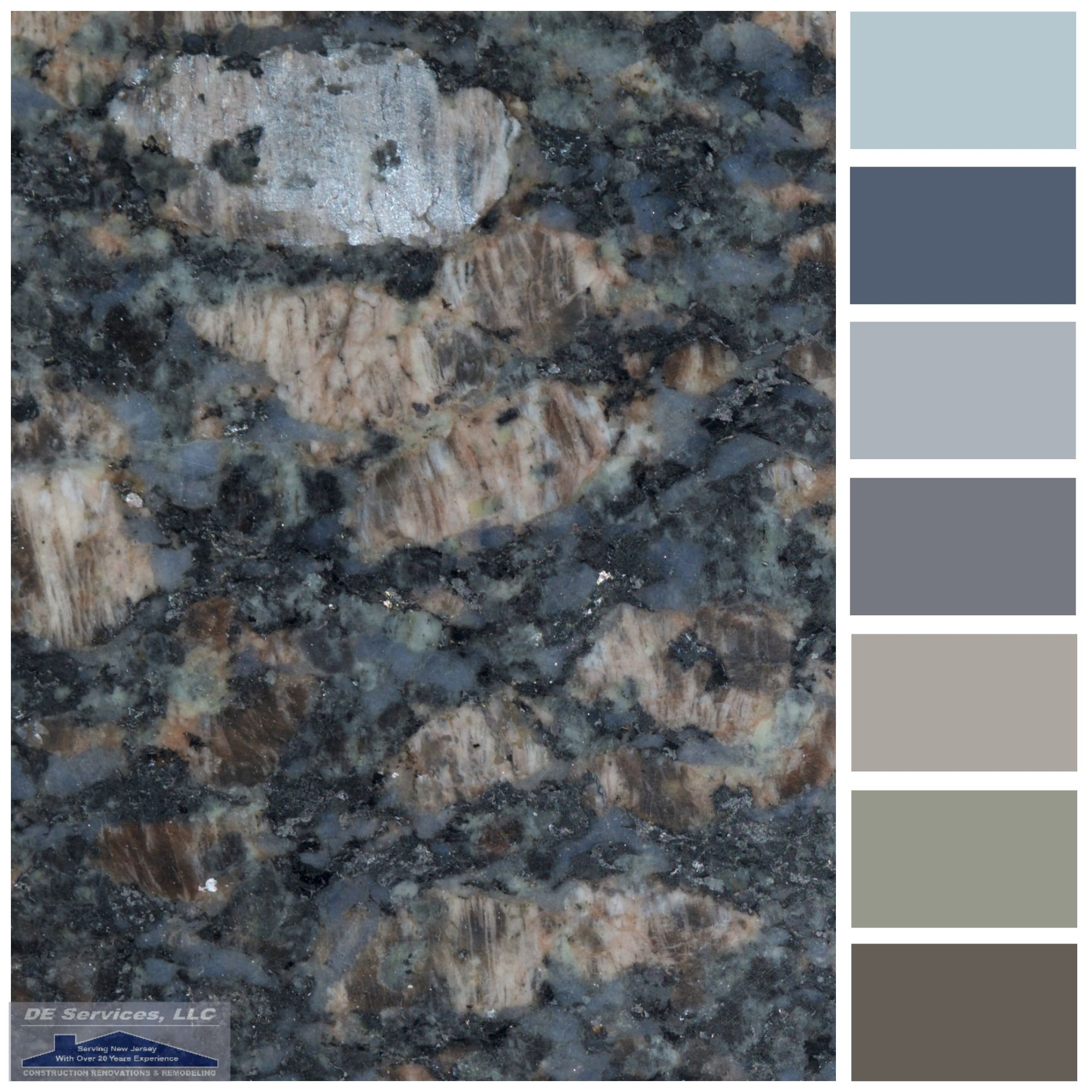 Sapphire blue granite de color palettes pinterest for Kitchen granite countertops colors