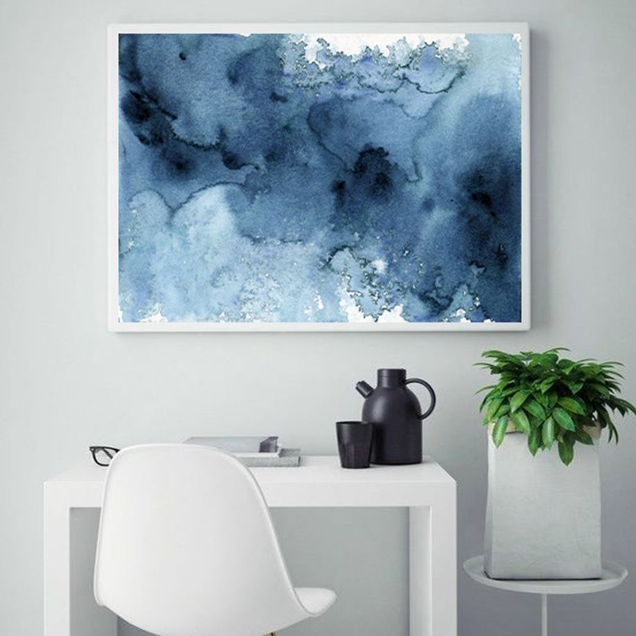 Blue abstract watercolor print abstract watercolor modern art