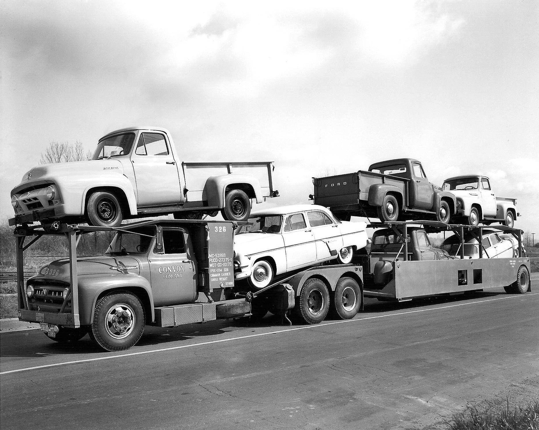 1954 Ford Semi Truck Dump Convoy Companys With A Load Of Fords Car 1872x1496