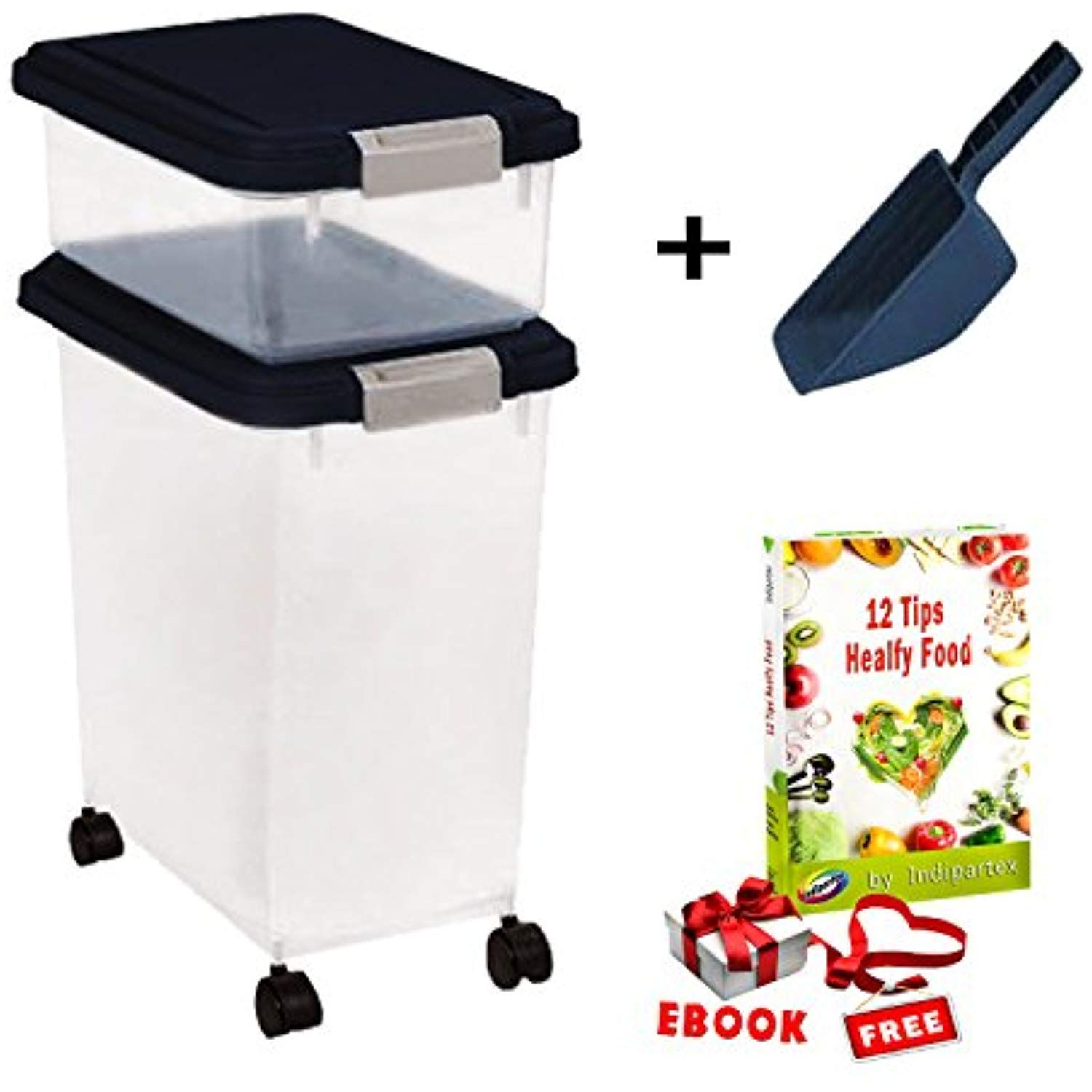 Extra Large Dog Food Container Combo Set With Casters And Airtight