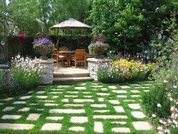 "Non-lawn, stone ""room"" entrance traditional landscape by ... on Non Grass Backyard Ideas id=65345"