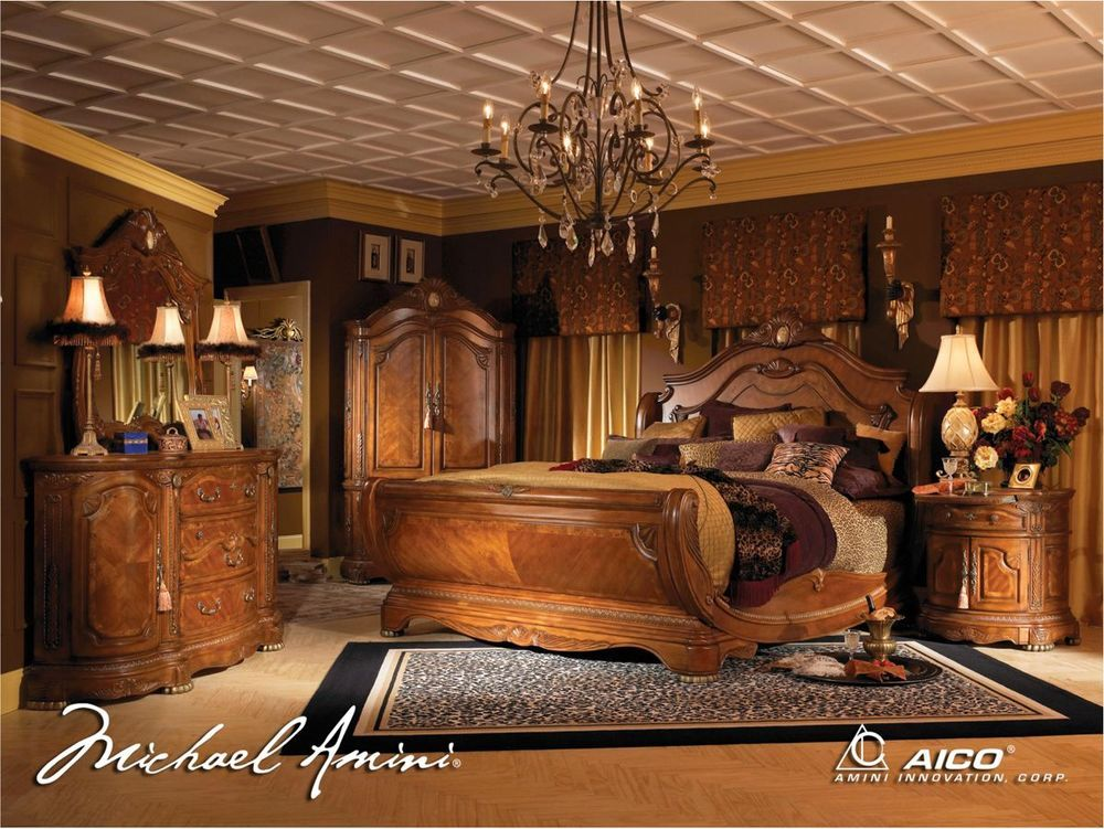7 piece bedroom set. Cortina Luxury King Bed Carved Wood 7 Piece Bedroom Set w  Chest Armoire Aico