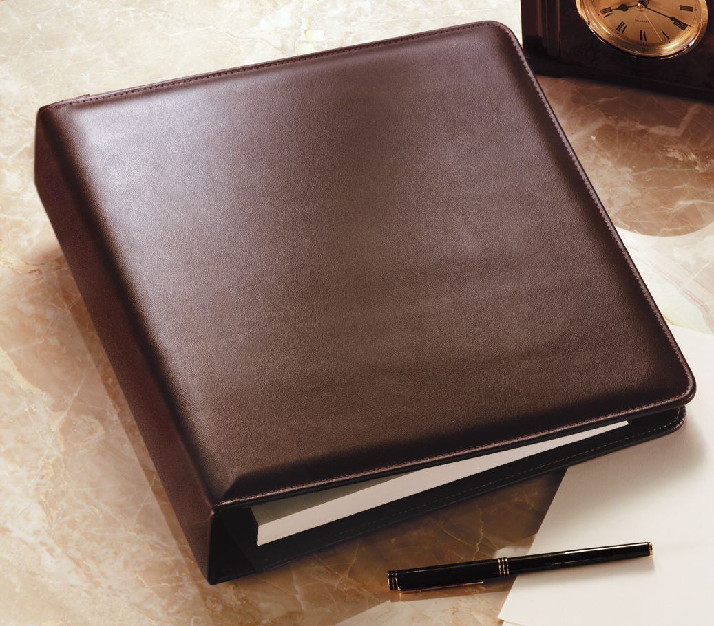 """Executive 3 Ring Leather Binder, 2"""" Spine"""