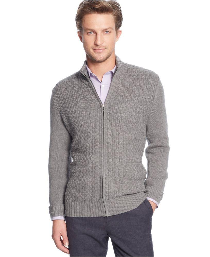 Calvin Klein men s sweater cardigan full zip mock neck solid textured size  S NEW  CalvinKlein  Cardigan 28c57cfc5