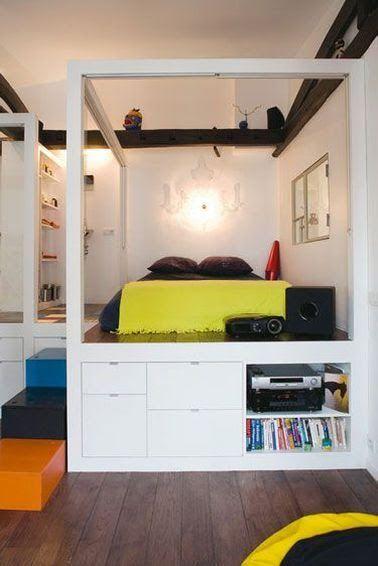 diy d co lit avec rangement faire avec 3 fois rien lit plateforme pinterest lit. Black Bedroom Furniture Sets. Home Design Ideas