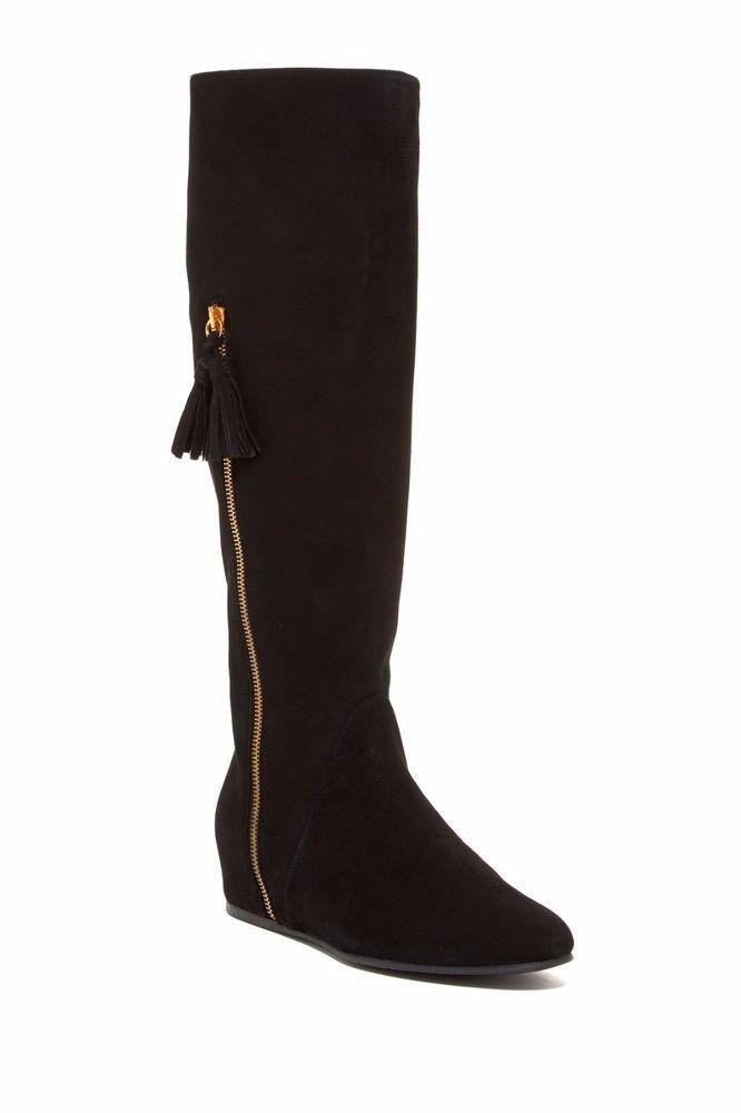 New Stuart Weitzman Womens Black Suede Knee High Hidden Wedge Riding Boots 9.5 #StuartWeitzman #KneeHighBoots #Casual