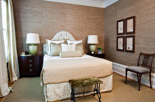 Grasscloth Wallpaper traditional bedroom grass cloth