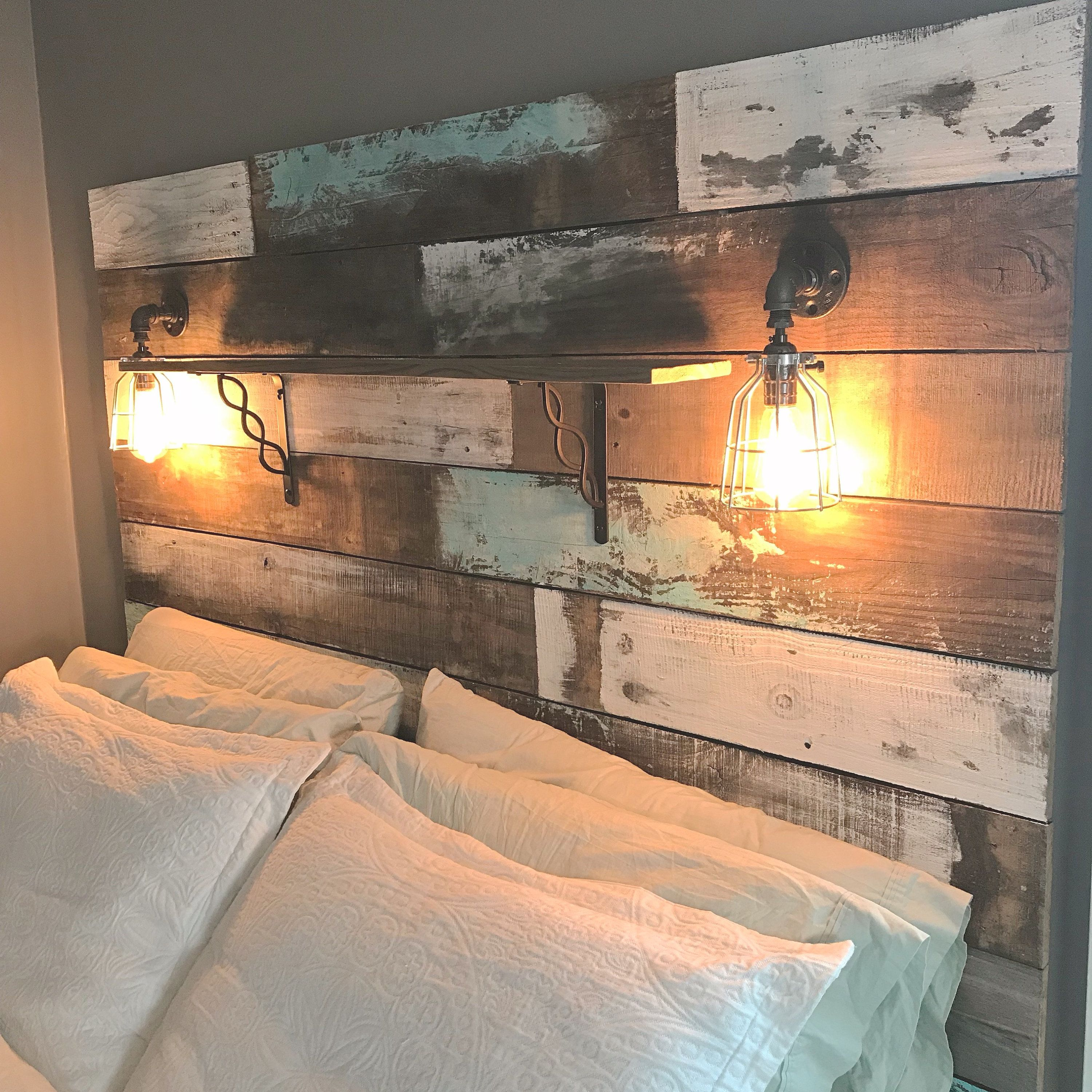 Farmhouse Rustic Chippy Paint Cottage Whitewashed Grey Blue Etsy Rustic Bedroom Design Rustic Bedroom Rustic Headboard Rustic bedroom ideas wood