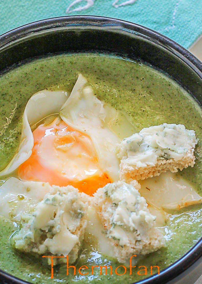 THERMOFAN: Crema de borraja con huevo a la plancha y submarinos de roquefort (micro)