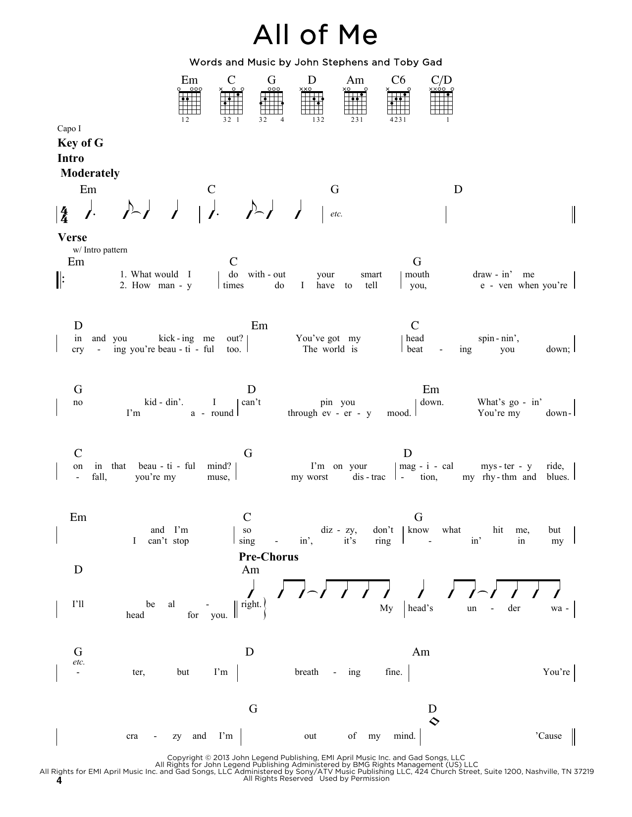 John Legend All Of Me Sheet Music Notes Chords Download