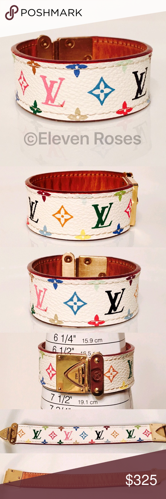 Louis Vuitton White Multi-Color LV Koala Bracelet Louis Vuitton White Multi-Color LV Monogram Wide Cuff Koala Bracelet - Vachetta Leather & Canvas - Gold Tone Buckle & Hardware - Dust Bag Included - Has Been Professionally Authenticated - Preowned / Preloved   Slight Signs Of Having Been Worn, As Shown Louis Vuitton Jewelry Bracelets