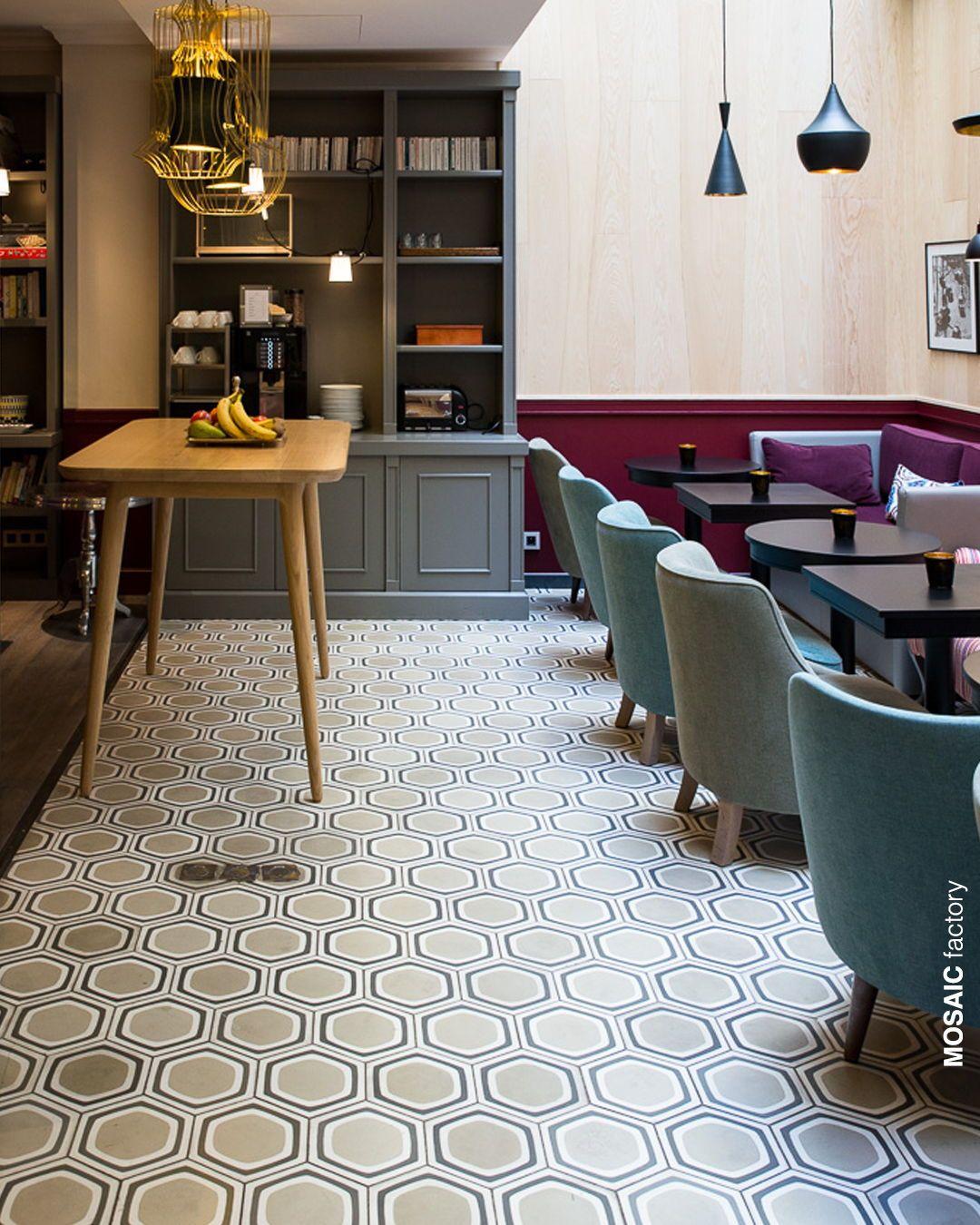 Beige, white and grey hexagonal cement floor tiles with
