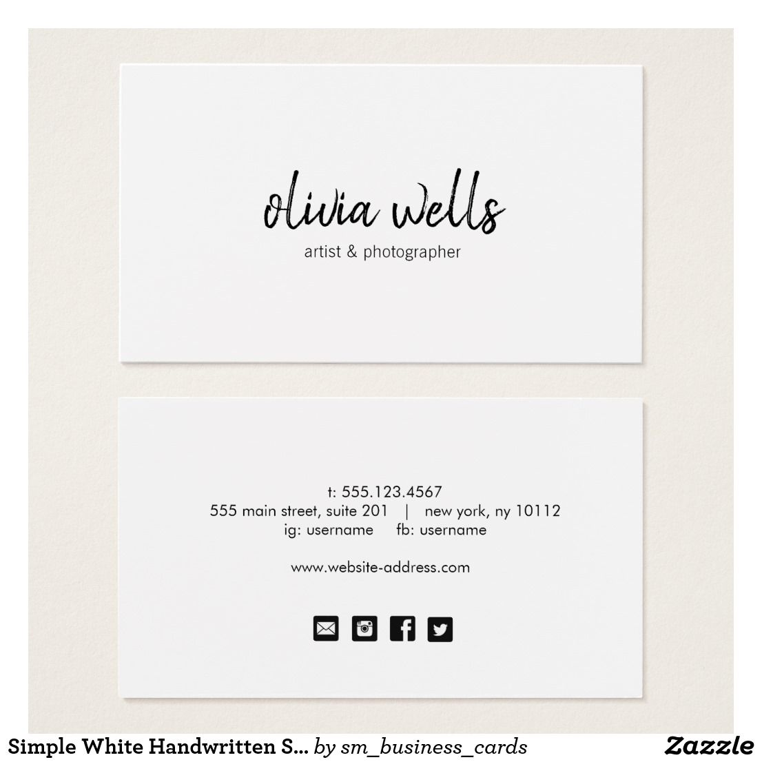 Simple White Handwritten Social Media Icons Business Card | Business ...