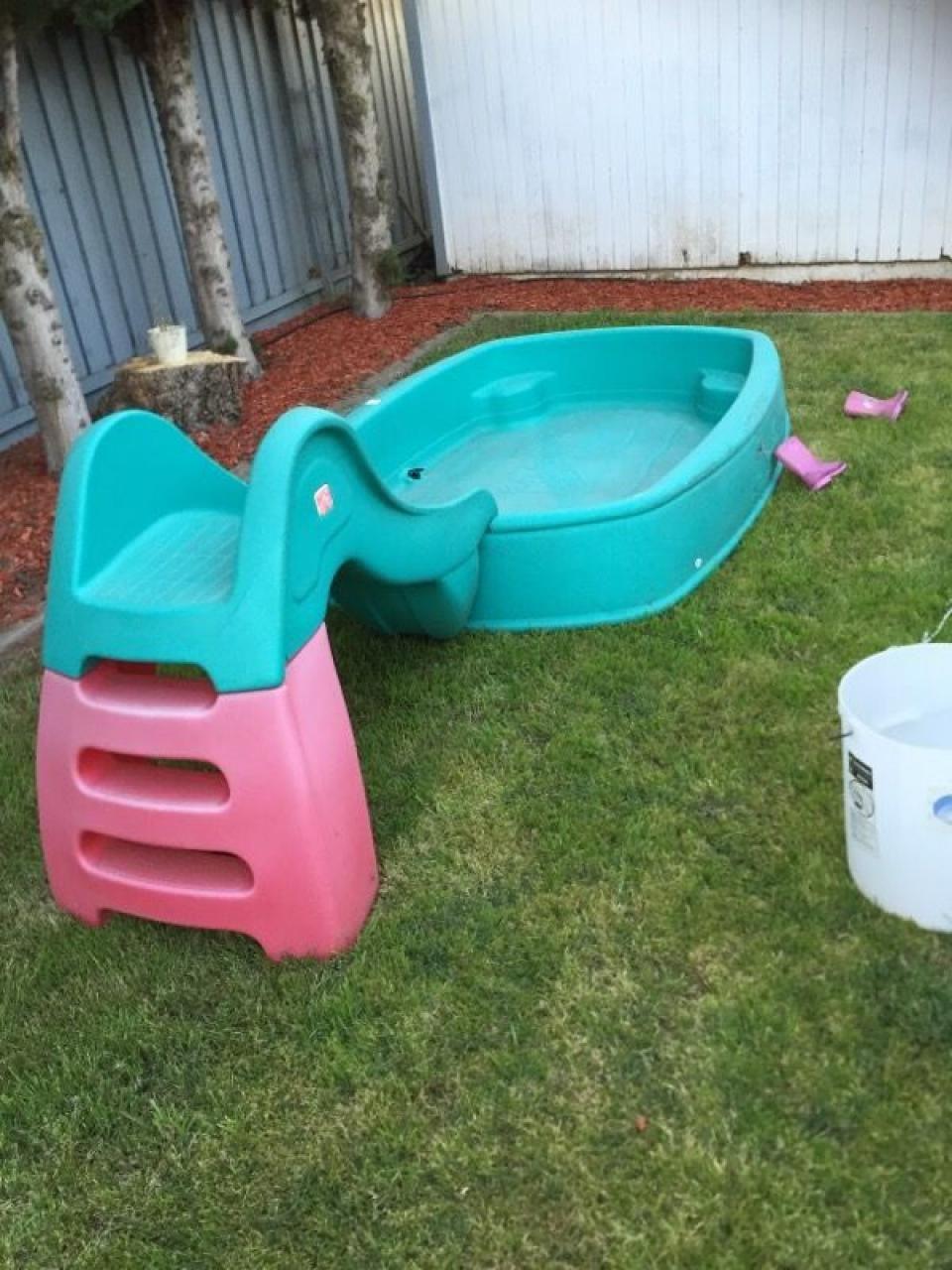 Small Slide On Hard Plastic Garden Pool