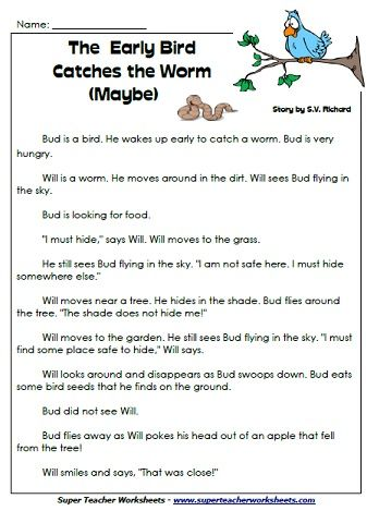 Worksheets Super Teacher Worksheets Reading reading comprehension stories on superteacherworksheets com early bird catches the worm maybe story for 1st