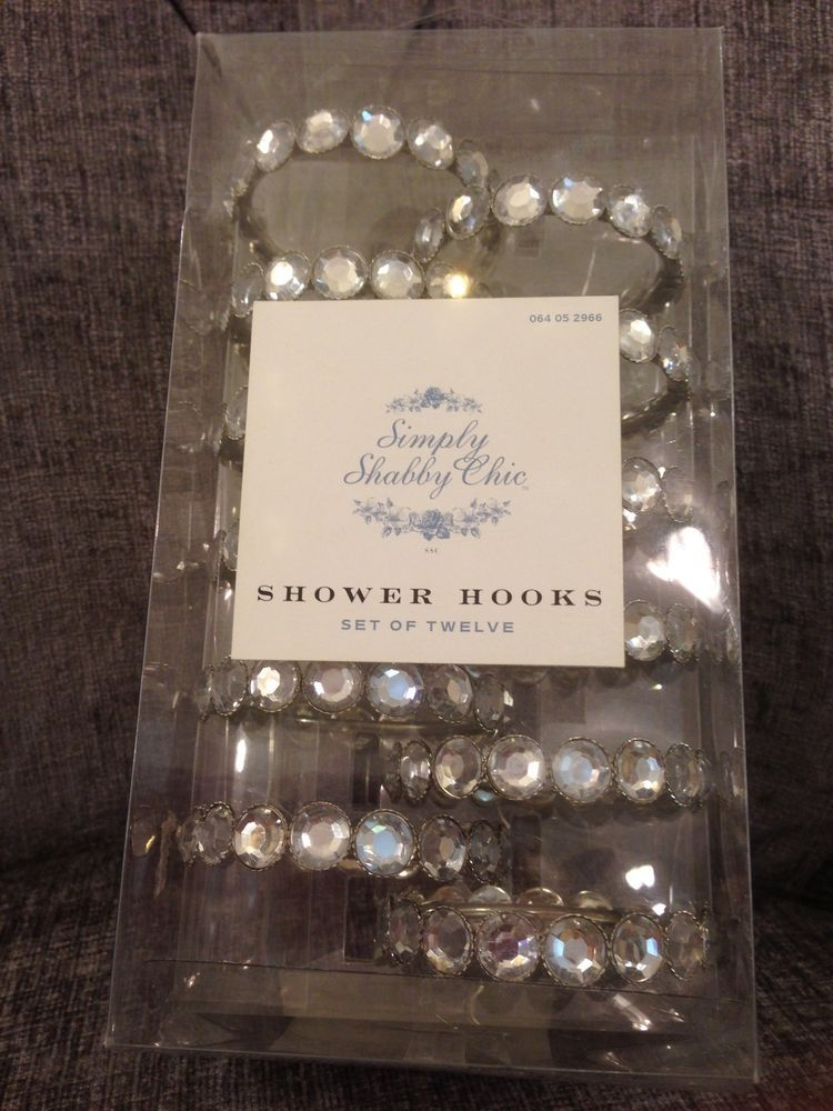 NWT SIMPLY SHABBY CHIC SHOWER CURTAIN HOOKS SET OF 12 RINGS RACHEL ASHWELL NIB SimplyShabbyChic