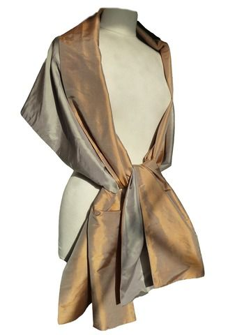 Bronze Brown Metallic look Large Organza ball wrap Shawl Stole Evening Scarf