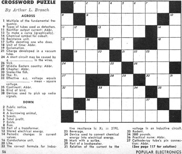 Crossword Puzzle from the December 1957 Popular