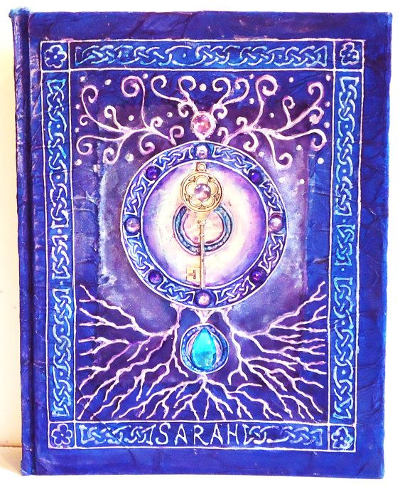 Hand Painted Journal, Sketch Book, Book of Shadows, Diary, 8x5 x 11
