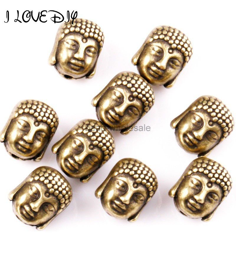 Wholesale Metal Silver Buddha Beads Gold Tibetan Silver Spacer Beads for Bracelet Jewelry Making 10x8mm 20Pcs