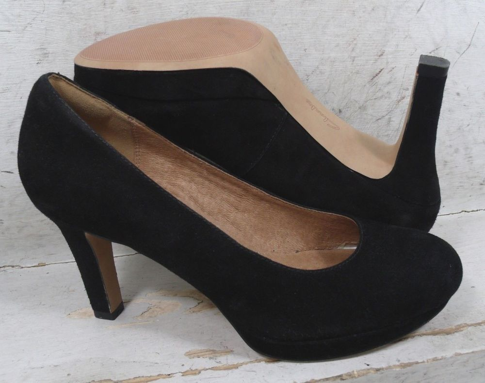 7ce088f31a1 Clarks Womens Delsie Bliss Black Suede Leather Pump Heels Shoes 01628 size  8 M  fashion
