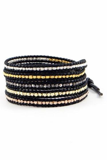 98a6afc09f969 Chan Luu Mixed Nugget Wrap Bracelet on Black Leather