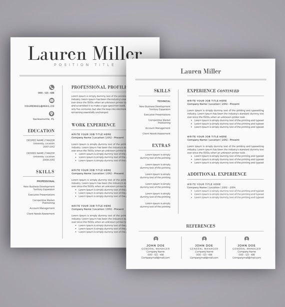 Resume Template / CV Template for Word, Cover Letter, Two Page