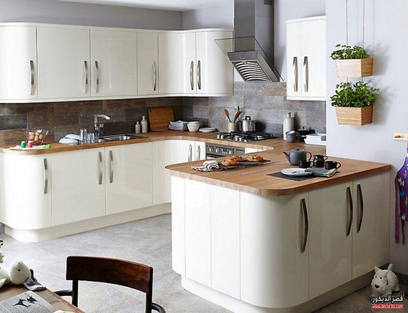 تصاميم مطابخ ايكيا بالصور احدث موديلات المطابخ قصر الديكور Curved Kitchen Contemporary Kitchen Freestanding Kitchen