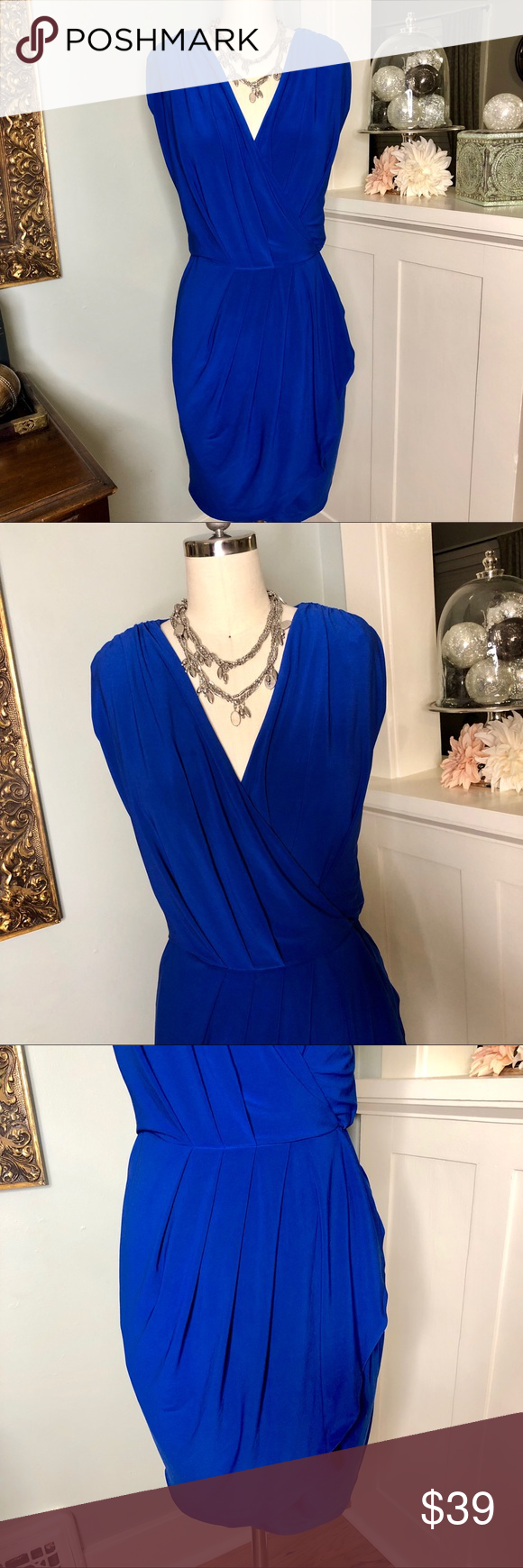 Vince Camuto Royal Blue Wrap Style Dress Clothes Design Types Of Fashion Styles Fashion Dresses [ 1740 x 580 Pixel ]