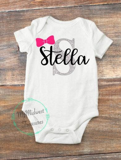 db4f7d4db372 Personalized Baby Girl Name Bodysuit