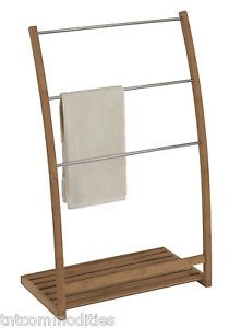 Floor Standing Towel Racks Bamboo Wood Frame Freestanding Rack Stand Bathroom Organizer