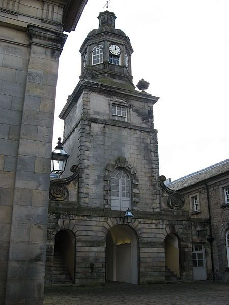 Hopetoun House, near South Queensferry, Scotland. Tower at centre of North Pavilion, with stables entrance at base