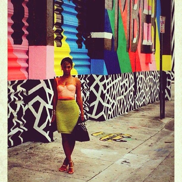 Beyonce neon topshop skirt and bright jil sander sandals