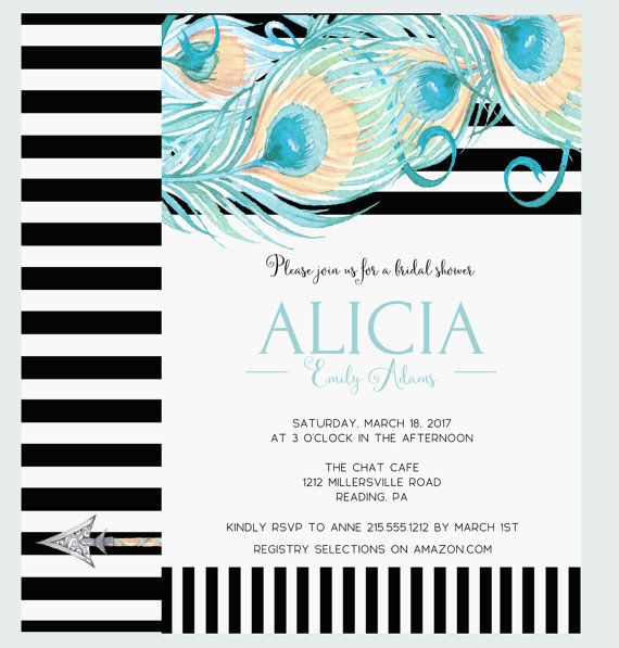 Grand Plume Bridal Shower Invitation -Teal Printable - Peacock Wedding Shower - Champagne Brunch Invite - Dreamy Watercolor - Black Stripe