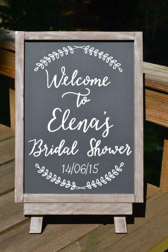 handmade chalkboard calligraphy welcome sign something like this