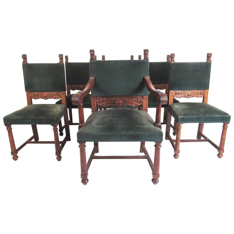 Set Of Six Victorian Carved Dining Chairs
