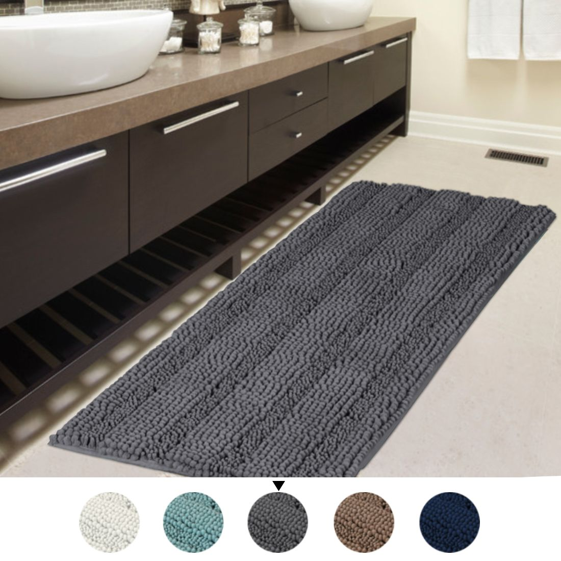 47x17 Inch Oversize Non Slip Bathroom Rug Shag Shower Mat Soft Thick Floor Mat Machine Washable Bath Mats With Water Absorbent Soft Microfibers Long Striped Rug In 2020 Washable Bath Mat Bathroom Rugs
