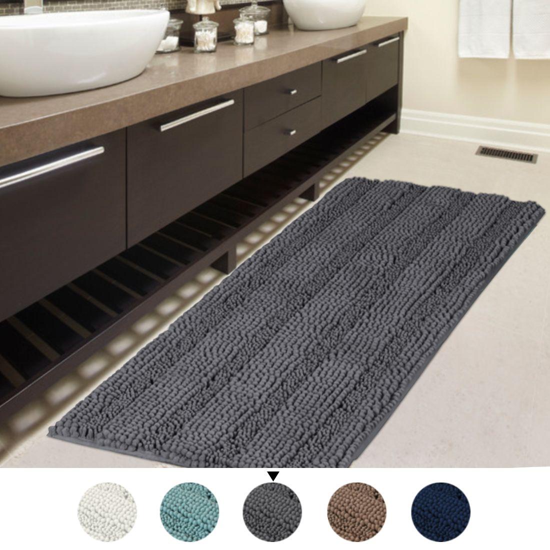 Soft Shaggy Non Slip Absorbent Bath Mat Bathroom Shower Rugs Carpet Long Rug