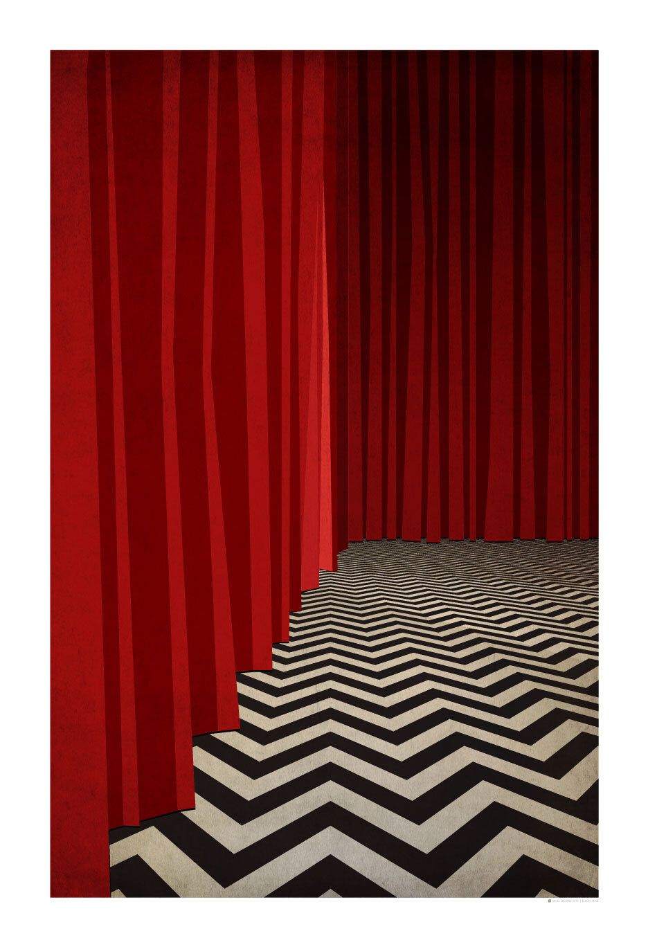 Twin Peaks Poster Red Room Black Lodge Poster 13x19 Black Lodge Red Rooms Twin Peaks Poster