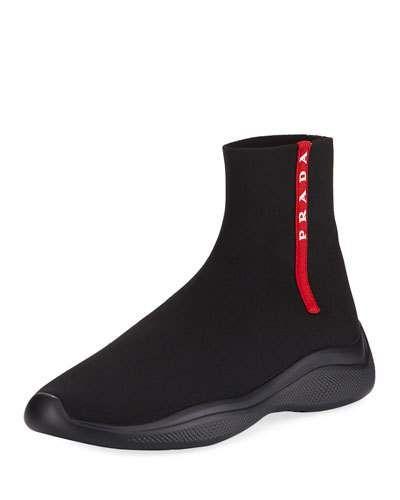 42180eb3f1d3 Prada Men s Sock-Boot Sneakers in 2019